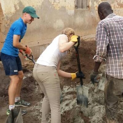 Part of the Experiential Learning model in Ghana for middle school students, is for volunteers to do light renovation and building work.